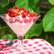 Woodland strawberry with whipped cream — Stockfoto