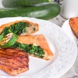 Grilled steaks with puff pastry bag and zucchini — ストック写真