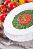 Tomato-spinach cream soup — Stock Photo