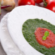 Tomato-spinach cream soup — Stock Photo
