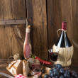 Stock Photo: Ham, wine and bread