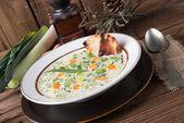 Leek cheese soup — Stock Photo