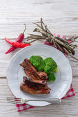 Grilled ones rib with broccoli — Photo