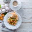 have breakfast omelette with chanterelles — Stock Photo
