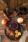 Duck with dumplings and pickled plum — Stock Photo