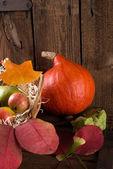 Pumpkin apfel basket — Stock Photo