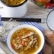 Vegetarian parasol mushroom soup — Stock Photo