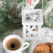 Stock Photo: Milk and cookies for santa