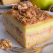图库照片: Apple strudel with vanillpudding and nuts