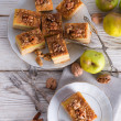 Apple strudel with vanilla pudding and nuts — Stock Photo