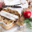 Christmas stollen with vanilla — Stock Photo