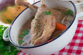 Goose - soup with red wine and thyme — Stockfoto
