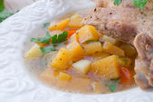 Goose - soup with red wine and thyme — Stock Photo