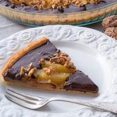 Pears chocolate tart — Стоковое фото