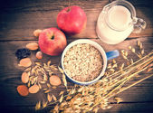 Dry muesli mix - vintage style — Stock Photo