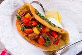 Hungarian goulash with potato pancake — Stock Photo