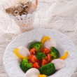 Stock Photo: Marbled eggs with vegetables