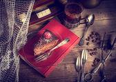 Gâteau au chocolat et café turc — Photo