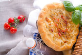 Onion tart and Federweisser — Stock Photo