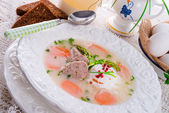 Polish white borscht — Stock Photo