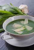 Wild garlic soup with Parmesan — Stock Photo