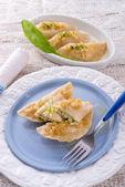 Dumplings with wild garlic — Stock Photo