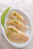 Dumplings with wild garlic — Stock fotografie