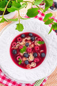Cold fruit soup — Stock Photo