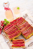 Rhubarb cake — Stock Photo