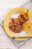 Steak with rice stuffed peppers — Foto Stock