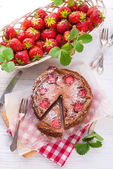 Chocolate cheese cake with Strawberry — Stock Photo