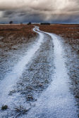 The road to the house in autumn snowfall — Stock fotografie