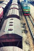The train wagons on railway station — Stock Photo