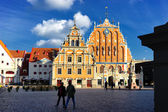 House of Blackheads in Town Hall Square in Riga — Stock Photo