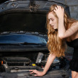 Caucasian woman in her car breaks down — Stock Photo