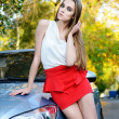 Stock Photo: Beautiful womdriver sitting on car