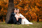 Happy bride and groom in a park. Wedding couple — Stock Photo