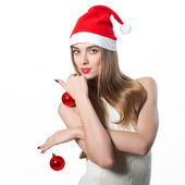 Beautiful Young Happy Christmas Woman isolated on white — Stock Photo