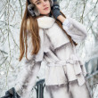 Stock Photo: Woman in fur in the winter park