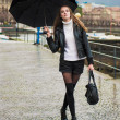 Woman walking with umbrella under the rain — Stock Photo #22916490