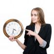 Happy woman holding clock  — Stock Photo