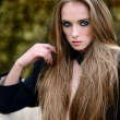 Стоковое фото: Portrait of fashion womwith make up outdoors