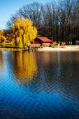 Hermosa casa de madera cerca del río — Foto de Stock