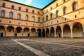The courtyard of the old castle in old town of Milan, Italy — Stock Photo