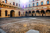 The courtyard of the old castle in old town of Milan, Italy — Стоковое фото