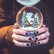 Woman holding snow globe on the Christmas fair — Stock Photo