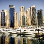 Yahts in the bay near skyscrapers in Dubai Marina — Stock Photo #41006687