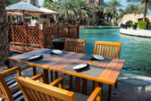 Beach bar on the tropical beach -- hotel in Dubai — ストック写真