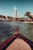 Riverboat cruise on water canals in Dubai — Stock Photo