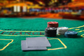 Poker chips on a poker table — Foto Stock